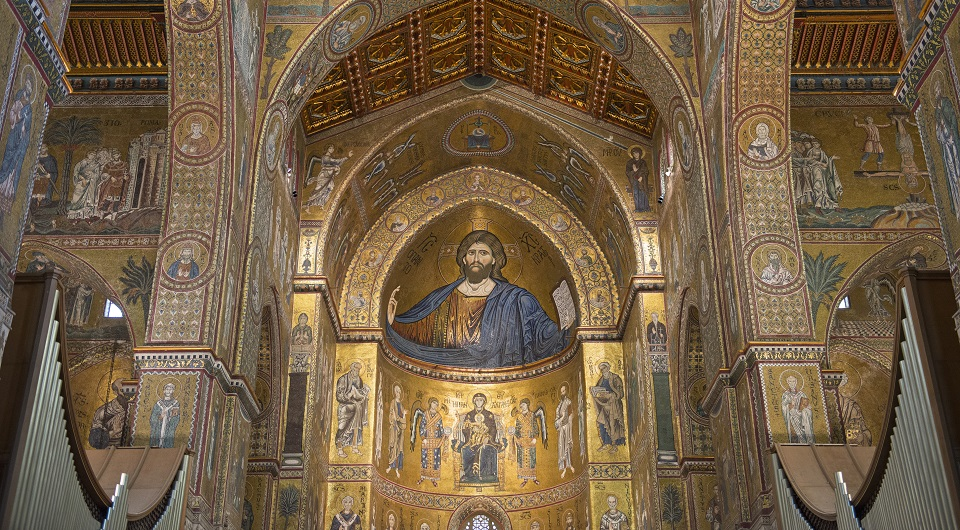 The famous Cathedral of Monreale. In the apse, the mosaic with the blessing Christ.